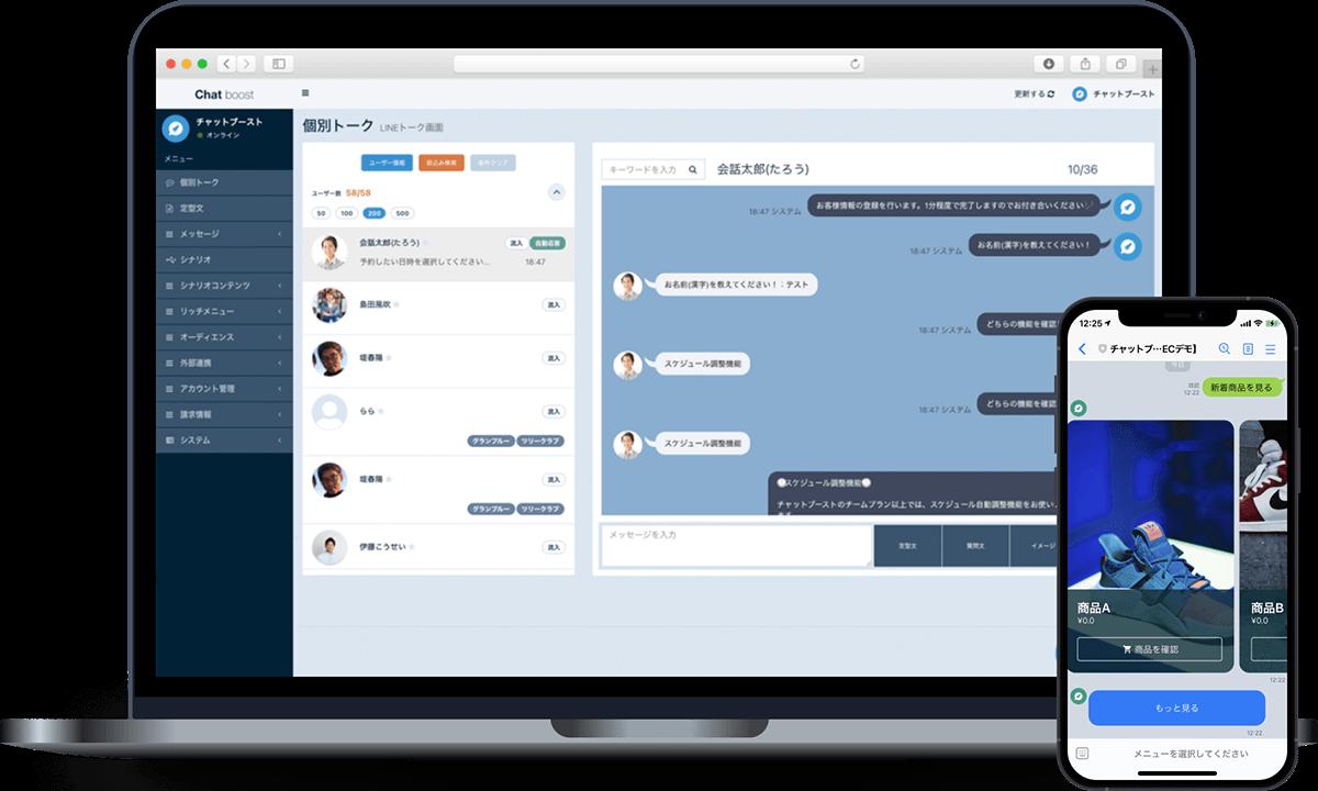チャットブースト 管理画面とLINEアカウント